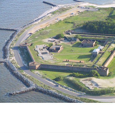 Aerial view of Fort Gaines